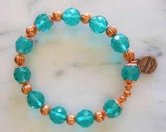 Aqua Czech Glass and Copper bracelet