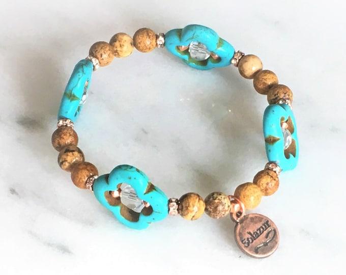 Jasper Copper Magnesite Quatrefoil Bracelet Healing Gemstone Rose Gold Boho Stretch Gift Modern Unique Solazur Jewelry Design