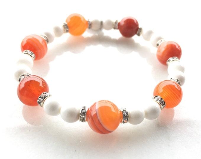 Carnelian Women's Bracelet White Tridacna Orange Beaded Stretch Jewelry Artistic New Original Modern Design Solazur