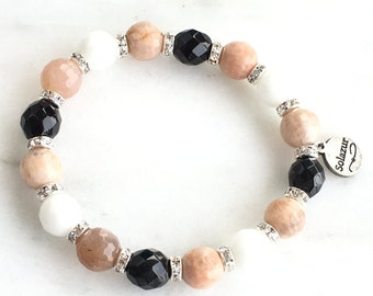 Moonstone stone beads and Czech glass beads bracelet (Bohema collection)