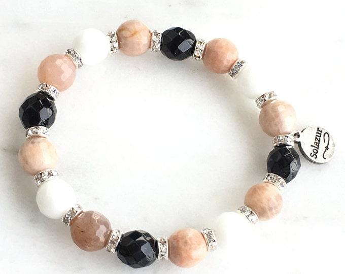 Moonstone Women's Bracelet Stylish Elegant Gemstones Beaded Silver Stretch Jewelry Artistic Original Modern New Design Solazur
