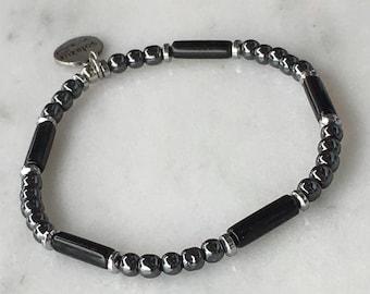 Obexo - Black Obsidian and grey Hematite stone beads bracelet
