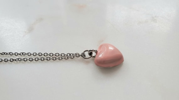 Pink heart charm, Stainless steel chain necklace, Friendship necklace, Heart pendant, Anniversary gift, Minimalist necklace, Valentines day