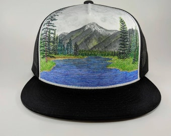 Hand Painted Trucker Hat: Mountains, trees, lake