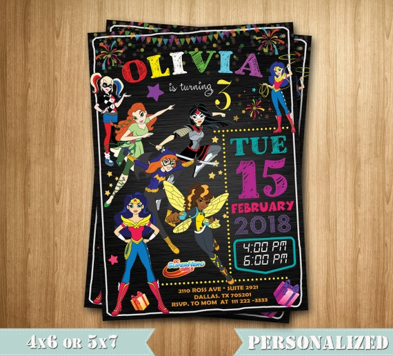 Dc Superhero Girls Invitation Superhero Girls Party Etsy