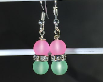 2 8mm Beads, Pink and Green, French Hooks