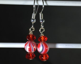 Red swirls and crystal beads, 6mm. French Hook