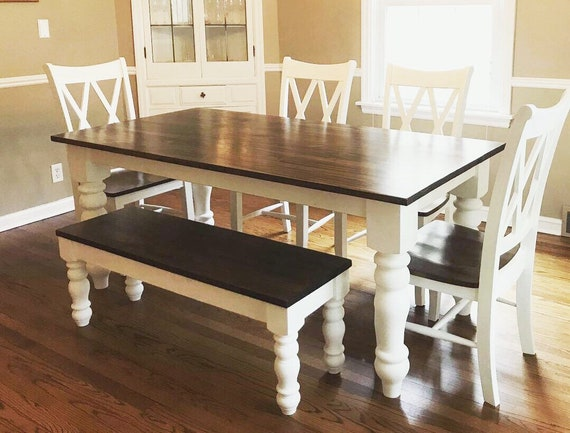 Farmhouse Table Bench Chairs Set Etsy