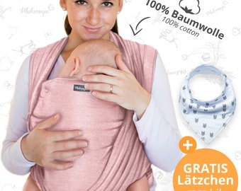 Baby sling black – Makimaja®- high quality baby wrap carrier made of 100% cotton - baby gift, baby shower, newborn, FREE bib & storage bag