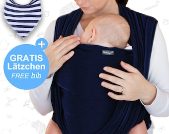 Baby sling navy blue - Makimaja® - baby carrier for newborns and babies up to 15 kg – made of soft cotton - incl. bag and baby bib