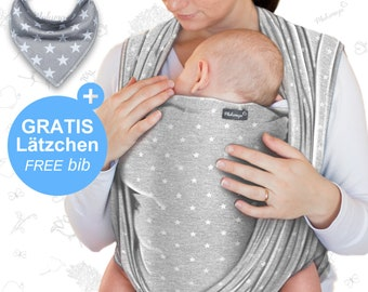 Baby sling light gray with stars  – Makimaja®- high quality baby wrap carrier made of soft cotton - baby gift baby shower, newborn, FREE bib