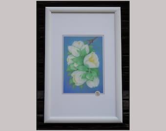 White Jasmine. Pastel painting. Lightfast European pastels. Flower painting. Flowers.