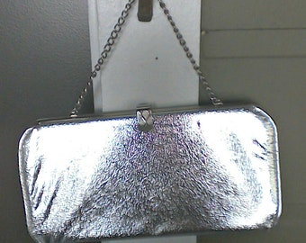 Vintage Silver Lame Evening Clutch with Chain Purse/Bag
