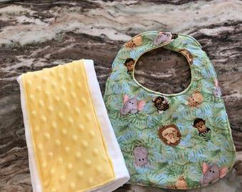 Jungle burp cloth and bib set