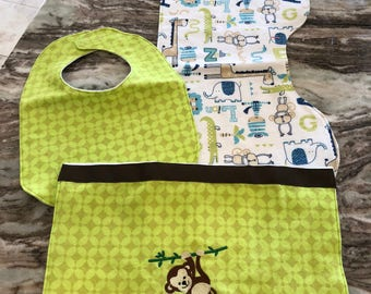 Monkey burp cloth and bib set