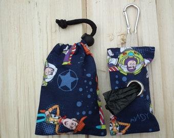 e5c859d99e6 Homemade bespoke poop   poo bag holder   dispenser and matching treat bag  in Disney Toy Story fabric.