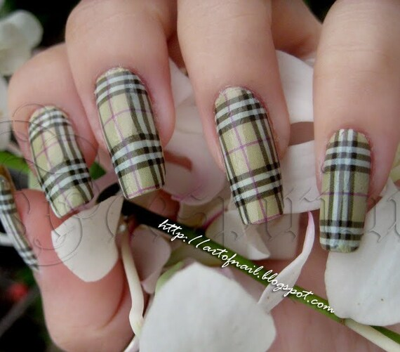 New 006 Burberry Logo Water Transfer Nail Art Decals Slides Etsy