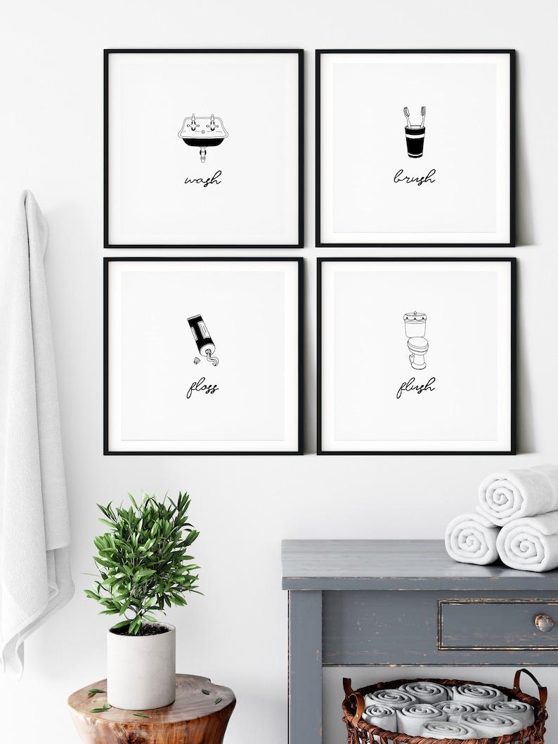 Bathroom Wall Art, Set of 3 Prints, Wash, Brush, Floss, Flush, Bathroom  Decor, Bathroom Art, Printable Wall Art, Bathroom Prints, Wall Decor
