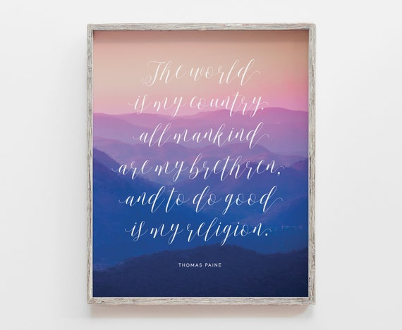The World Is My Country Quote, Quote Print, Quote Wall Art, Intent Design  Co, Mountain Wall Art, Inspirational Quotes,Inspirational Wall Art