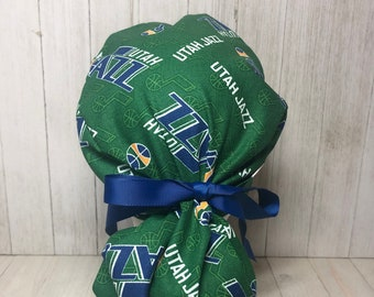 Ribbon or Fabric Ties Ponytail Scrub Hats Can Add Buttons Regular-sized or Extra Large Pouch 10 Different Teams Sport Team Fabrics