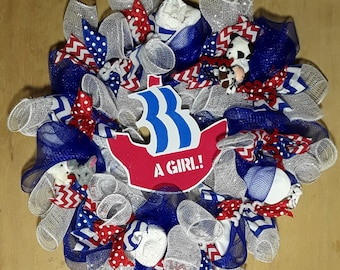 Baby girl gifts in a  Blue wreath for Baby Shower/Gender reveal (Handmade)