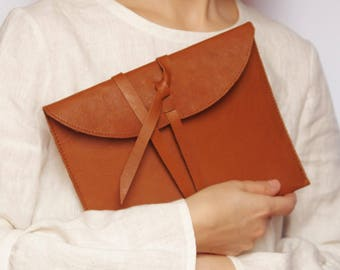 READY TO SHIP Leather clutch Gift for her Small gift Brown leather clutch Envelope bag