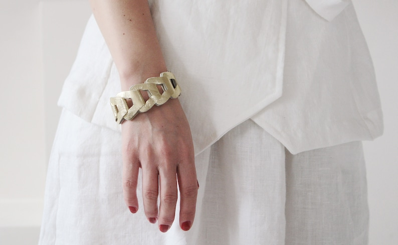 Gold leather womens cuff bracelet READY TO SHIP