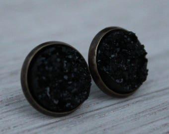 Earrings-ice crystals Black