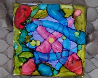 Hand Decorated Ceramic Alcohol Ink Tile (one of four in the 'Firestarter' range)