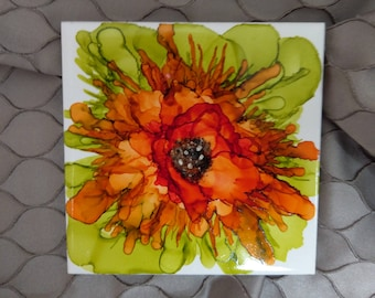 Hand Decorated Ceramic Alcohol Ink Tile - (two of four in 'Fleur' range)