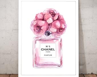 Coco Chanel, Chanel print, Perfume bottle, Fashion art, Digital art, Pink, Flowers, Printable art, Digital Instant Download