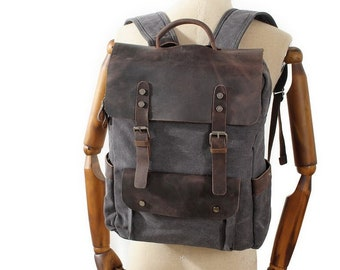 c3e7ad96f825 Handmade Canvas Leather Backpack Large Travel Backpack Hiking Rucksack  Laptop Backpack Unisex Canvas Backpack Canvas School Rucksack