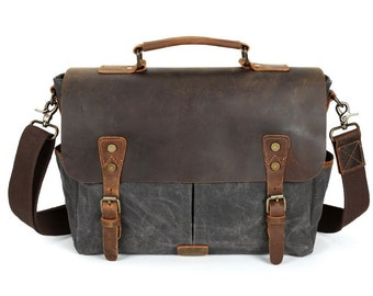 Waxed Canvas Leather Messenger Bag Cross body Bag Mens Laptop Messenger Bag Briefcase Wax  canvas bag Camera Bag DSLR Bag Gift for Men b60587d2b4cb8