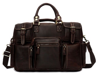 Leather Duffel Bag For Men Hand Made Chic Rustic Leather Travel Bag 100%  Real Leather Weekend Bag Holdall Overnight Holiday Vacation Duffel 17f5b8342a22f