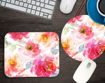 Pretty Pink Flowers Decorate Mouse Pad Great Gift Idea