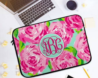 Custom Laptop Sleeve - Design Your Own - Monogram Laptop Sleeve-lilly Laptop sleeve,custom macbook covers,custom macbookair sleeve