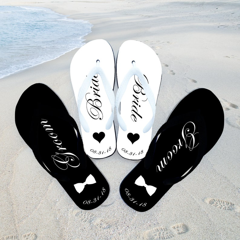 82846a2f31fe3 Beach Wedding Flip Flops Just Married Flip Flops Honeymoon