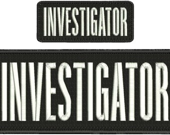 "/""Detective/"" embroidery patch 2x5 inches hook on white letters"