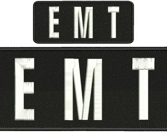 EMT Embroidery Patch 10x4 and 5x2 inches Hook backing white letters d767dd6198f