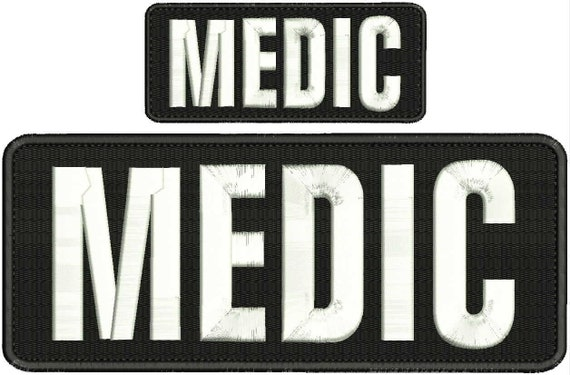 Paramedic embroidery patch 4x10 and 2x5 hook OD green letters