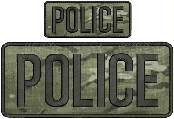 POLICE embroidery patches 3X9 hook on back all black