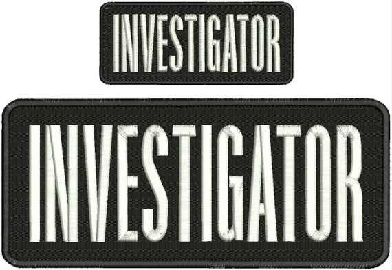 Details about  /investigator embroidery patches  4x10  and 3x6 hook on back