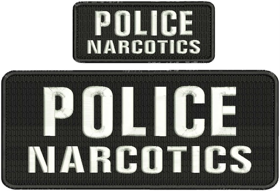 POLICE embroidery patches 4x10 hook on with grey lettering