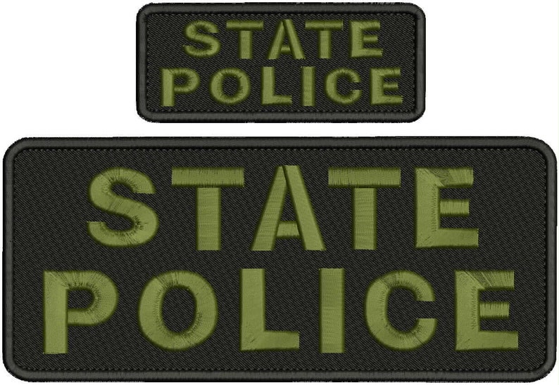 state police embroidery patches 4X10 hook ON BACK white letters od green