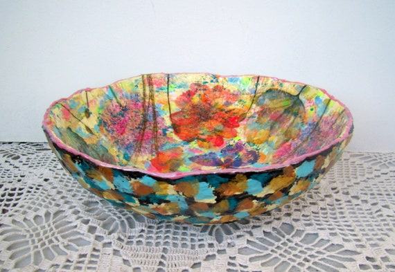 decorative bowls home decor.htm floral tableware bright colors centerpieces handpainted paper etsy  floral tableware bright colors