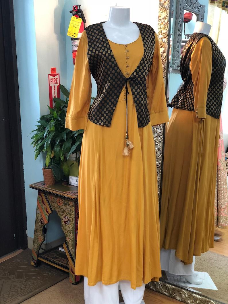 Handmade Exclusive Collection Classic Look Banarasi Jacket Cotton KurtiTunicDress Indian Style Bollywood Designs Code:21