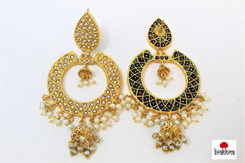 White beads embedded in Golden base Indian jewelry