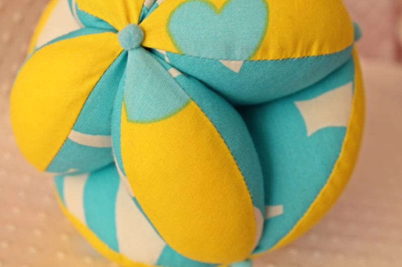 Handmade Easy grab ball perfect gift for newborn Montessori learning Sensory ball Baby clutch ball Infant toy yellow with light blue