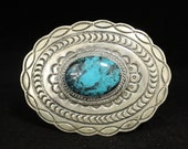 Navajo Sterling Silver Vivid Blue Turquoise with Black Matrix Stamped Concho Belt Buckle