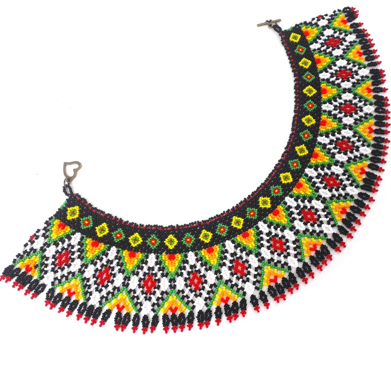 Mexican beaded necklace for women Huichol choker Chaquira necklace Huichol collar Colorful geometric handcrafted necklace Tribal jewelry